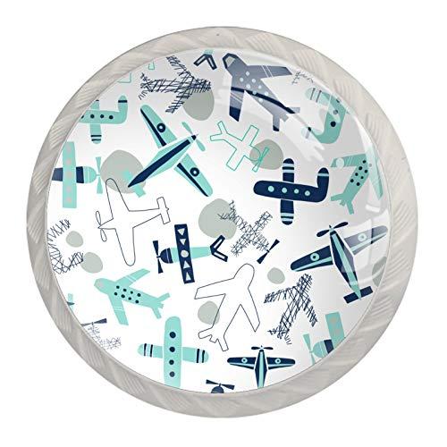Juego de 4 pomos de cristal retro con diseño de avión de dibujos animados para gabinete de cocina, baño, armario con tornillos