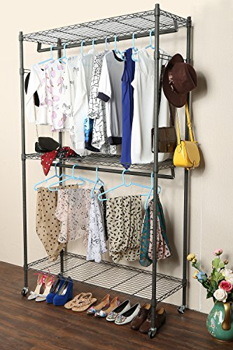 Homdox 3 Shelves Wire Shelving Clothing Rolling Rack Heavy Duty Commercial Grade Garment Rack with Wheels and Side Hooks One Pair Hook and Two Hanging Rods Gray