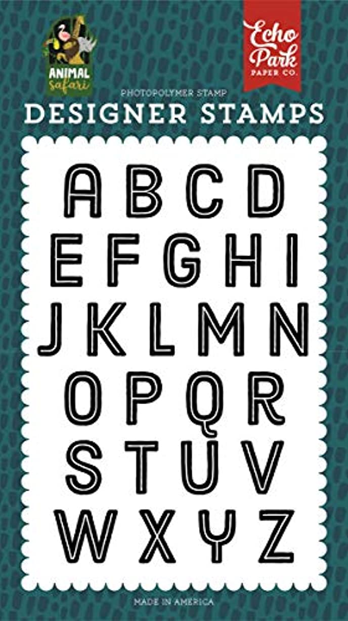 Echo Park Paper Company ZOO167042 Zoo Day Alphabet Stamp, Green, Navy, Blue, Yellow, red, Pink