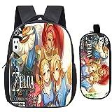 2Pcs / Sets Mochila Escolar para niños pequeños, Mochilas Anime The Legend of Zelda, Mochilas Escolares Breath of The Wild Mochilas Escolares para niños de Primaria