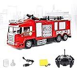 Liiokiy Telecomando Auto antincendio Motore Camion di Salvataggio Elettrico Veicolo antincendio a 360 ° Rotante RC. Camion dei Pompieri 2. 4G RC. Auto RC. Camion dei Mostri cingoli per Adulti Ragazzi