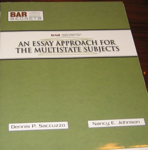 Image OfAn Essay Approach For The Multistate Subjects (Bar Secrets)