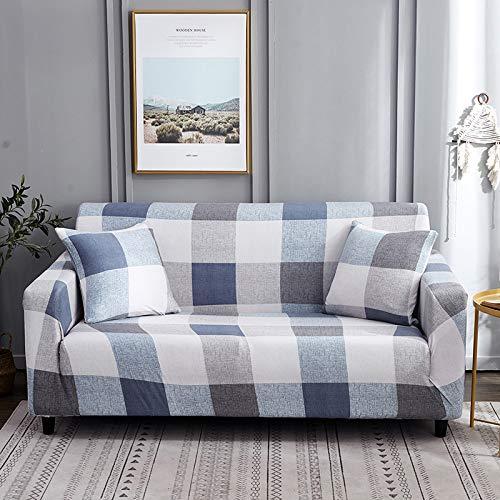 wefwef Funda de sofá, Universal Funda Elástica para Sofá de Poliéster y Spandex Funda de sofá,Funda Protectora de Poliéster Suave sofá Simple Retro Azul y Blanco a Cuadros,3,s Simple Retro Azul y bla