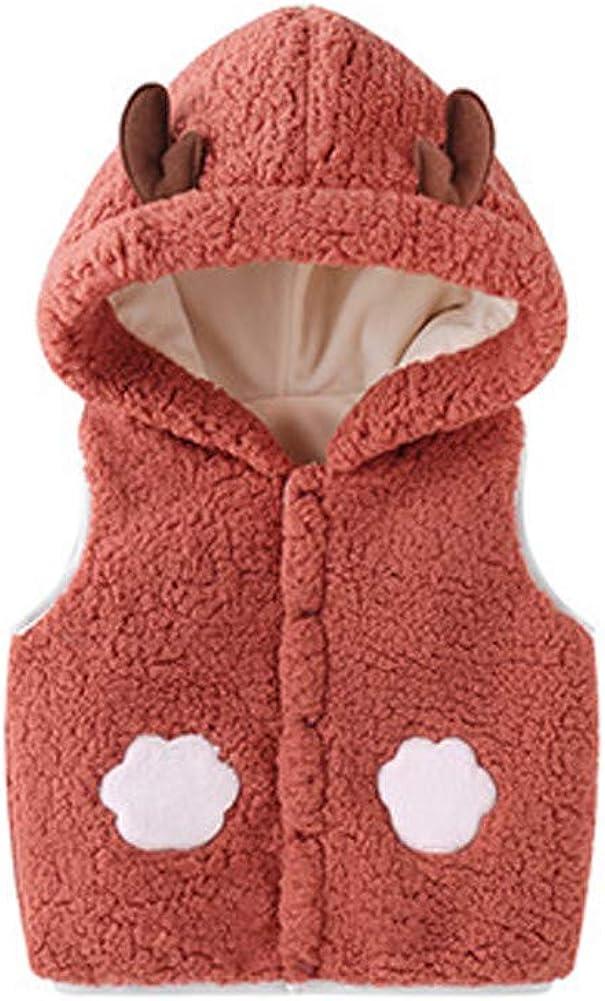LittleSpring Faux Sherpa Vest for Toddler Girls Fleece Lined Warm Cartoon