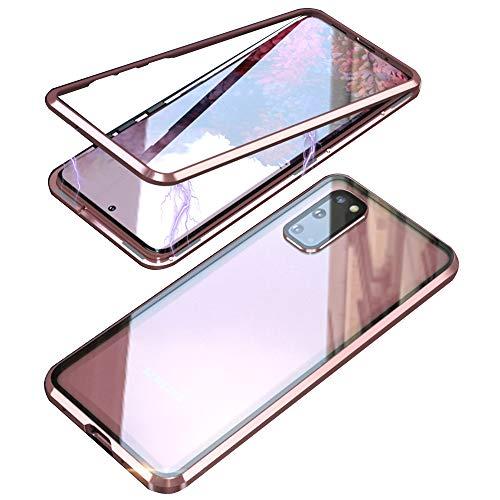 Magnética Funda para Samsung Galaxy S20 FE, Protector de Lente de cámara Doble Vidrio Templado Case Marco Metal Funda Protección 360 Grados Alta definición Camera Protector Cubierta - Rosado
