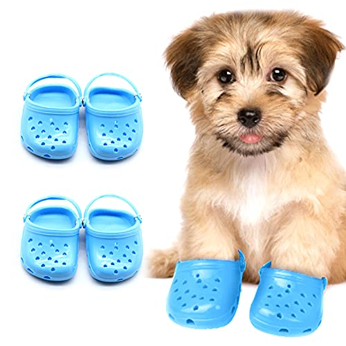 JiYanTang 4 Stück atmungsaktive und Bequeme Hundeschuhe,weiche Mesh-Hundesandalen mit robuster Anti-Rutsch-Sohle,verstellbare süße Hundeschuhe für,Bequeme Hundeschuhe, langlebig atmungsaktiv (Blau)