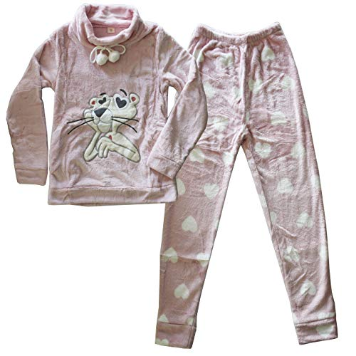 FERETI Pijamas Invierno Mujer Azul Pink Panther Pantera Rosa Polar Corazones Cuello Alto Grueso