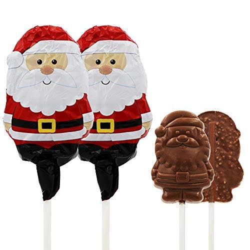 Christmas Santa Big Chocolate Lollipop Holiday Treats, Double Crisp Chocolaty 'n Smooth,Milk Chocolate Pop Party Bag Fillers, Individually Wrapped Foils, Kosher OU-D, 3oz Chocolate Sucker