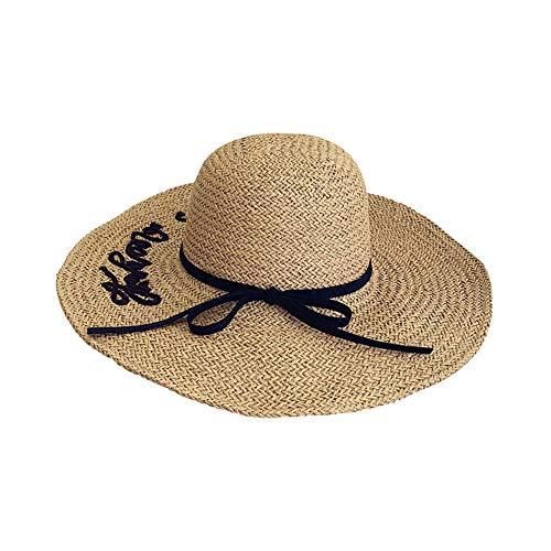 porfeet Sombrero de paja al aire libre para mujer, sombrero de playa de ala ancha grande, sombrero de sol para mujer, sombrero de tejido de paja plegable, ala grande, anti-UV, caf ligero clsico