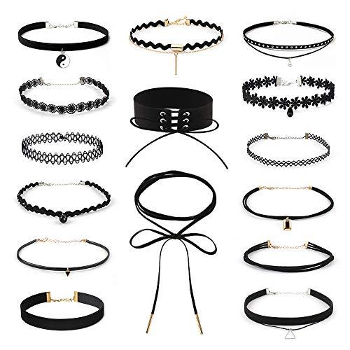 Choker Halsband,15Pcs Choker Halsketten Set,Tattoo Halskette,Velvet Choker Kette,Gothic Halskette Schwarz Halsband tattoo für Damen Mädchen(Schwarz)