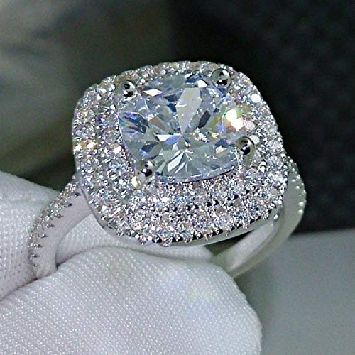 Jeweler. 925 Silver Cushion Cut Solitaire Engagement Ring-Fashion Ring Cushion Cut 4ct 5A Zircon 925 Sterling Silver Wedding Ring for Women (8)