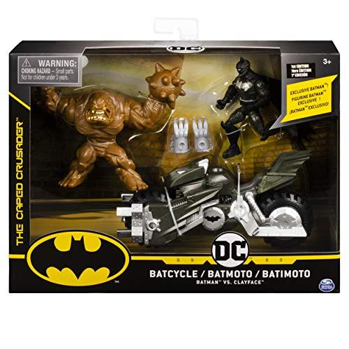 BATMAN 6055934 - Batman Batcycle-Spielset mit 10 cm-Actionfiguren von Batman und Clayface