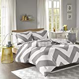 Mi-Zone Cozy Comforter, Casual Geometric Chevron Design All Season Bedding Set Matching Sham, Decorative Pillow, Full/Queen, Grey, 4 Piece