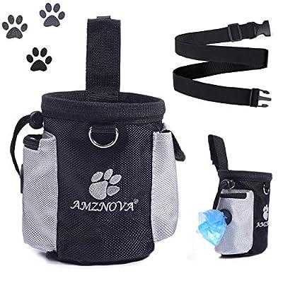 AMZNOVA Dog Treat Bag, Dog Training Bag with Built-in Poop Bag Dispenser & Adjustable Waistband, Easily Carries Pet Toys, Kibble, Treats for Travel or Outdoor Use, Black