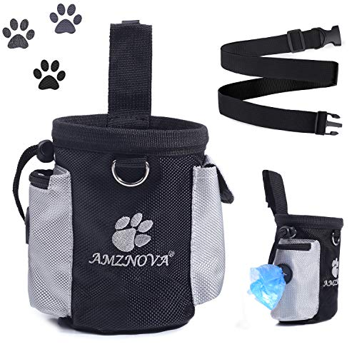 AMZNOVA Hunde Leckerli Tasche Futterbeutel Für Hundetraining Snack Kotbeutel Kotbeutel-Spender mit Verstellbarer Streifen