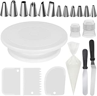 InnoGear Cake Decorating Kit with Rotating Cake Turntable, 12 Cake Decorating Tips, 2 Icing Spatula, 3 Icing Smoother, 50 Disposable Pastry Bags and 1 Coupler Baking Set