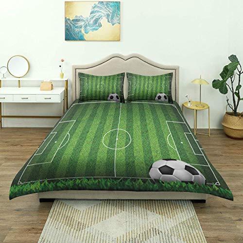 Copripiumino, campo da calcio in campo di erba verde con strategia The Strip Scheme Ball, set di biancheria da letto di lusso in microfibra leggera confortevole