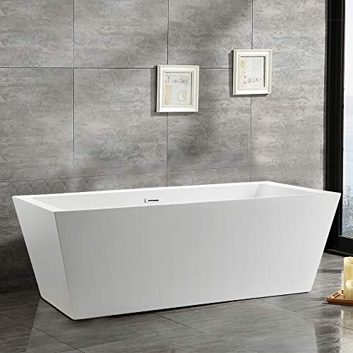 Vanity Art 59 inch Freestanding Acrylic Bathtub Modern Stand Alone Soaking Tub with Chrome Finish UPC Certified Slotted Overflow and Pop-up Drain VA6814-S