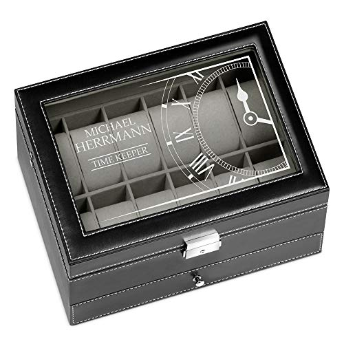 Murrano Uhrenbox mit Gravur für 12 Uhren & Schmuck - 30x20x13cm - Uhrenkasten aus Kunstleder - Schwarz - Geschenk für Männer - Time Keeper