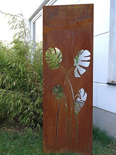 Zen Man Edelrost Garten Sichtschutz aus Metall 1mm Rost Gartenzaun (Gartendeko edelrost) Sichtschutzwand H150*75cm 031914-2