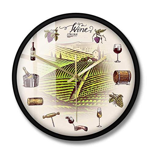 UVA Barril de Vino Bottel Glass Vineyard Reloj de Pared Retro Hillside Winery Décor Cocina Relojes Reloj de Pared Bebedores de Vino Gift-Metal_Frame_with_acbling_Glass