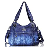 Angel Barcelo Roomy Fashion Hobo Womens Handbags Ladies Purse Satchel Shoulder Bags Tote Washed Leather Bag (Blue)