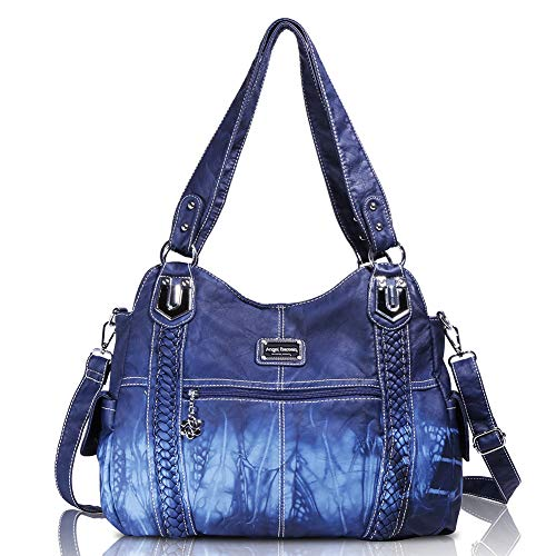 Angelbarcelo Angel Barcelo Roomy Fashion Hobo Womens Handbags Ladies Purse Satchel Shoulder Bags Tote Washed Leather, L, 0044 Blue