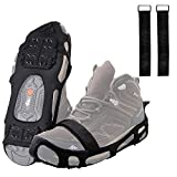 FUSIGO Ice Cleats for Shoes and Boots, 24 Studs Walk Traction Ice and Snow Traction Cleats Anti Slip Stretch Footwear Crampons for Walking Hiking Men Women (Medium, 5.5-7 men/7-8.5 Women)