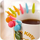 Uteruik 10pcs Carino Forma di Lumaca in Silicone Titolare di bustina di tè Tazza Tazza di Caramelle Colori Regalo Set