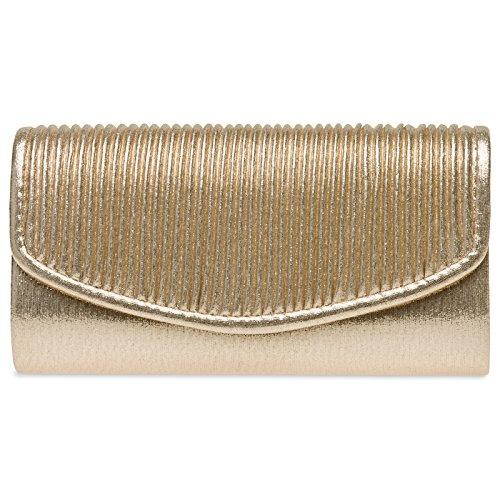 Caspar TA399 kleine elegante Damen Glanz Clutch Tasche Abendtasche mit gerafftem Überschlag, Farbe:gold, Größe:One Size