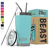 BEAST 20oz Tumbler Insulated Stainless Steel Coffee Cup with Lid, 2 Straws, Brush & Gift Box by...
