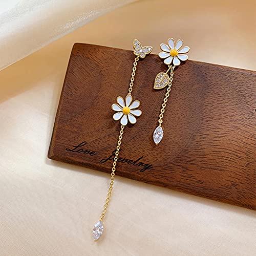 SONGK Pendientes Largos de Flores en Forma de Onda, delicados y asimétricos, pequeños Pendientes...
