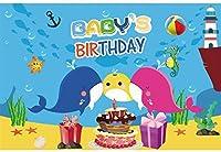 HD 10x7ft背景写真の誕生日の背景海底世界航海漫画ジンベイザメヒトデタツノオトシゴ色ケーキパーティー装飾バナー赤ちゃん男の子女の子ポートレート写真ブース小道具