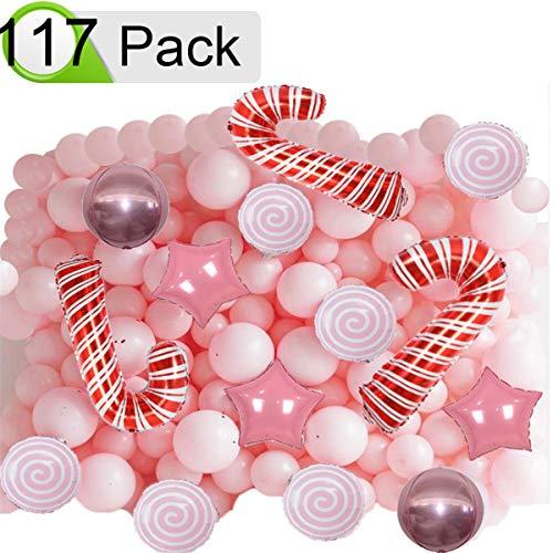 QAQGEAR Pink Party Pearl Macaron lecca-lecca foglio alluminio rosa palloncino a stella a cinque punte palloncino polvere muro QAQGEAR Pastel Candy Cane Lattice colorato Splendido kit per feste