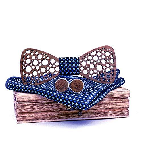 Juego de pajarita de madera para hombre, para traje de boda, pajarita de madera, broche, pañuelo y gemelos delgados