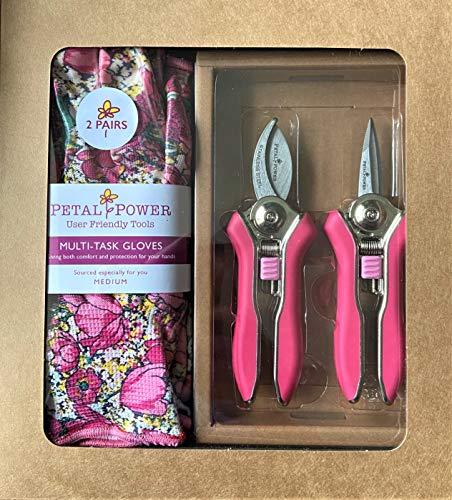 Ladies Mini Pruner Garden Secateurs & Ladies Gardening Gloves (2 Pairs) Set - Bypass & Trimmer Pruners – Lightweight Garden Gloves - Best Garden Gift for Women (Medium Glove, Pink/Rose Garden Floral)