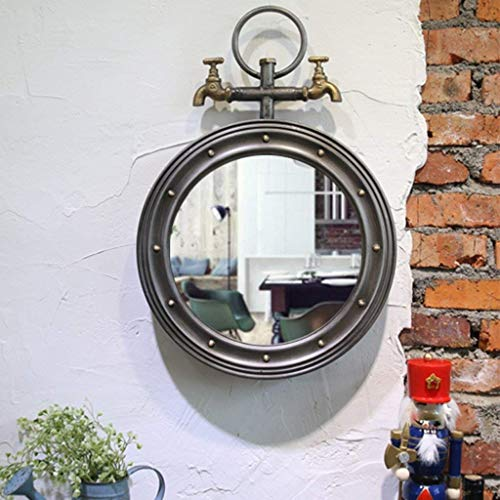 KANJJ-YU Espejo de maquillaje americano creativo hierro redondo grifo colgante espejo loft industrial barra viento decoración cafetería restaurante pared adornos baño espejo decorativo