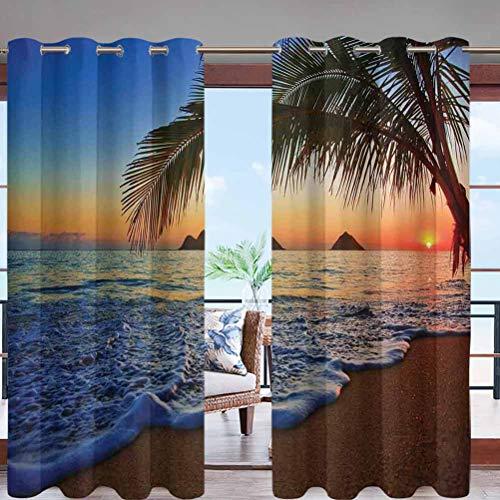 Hiiiman Sun Block Wind Prevention Grommet Top Curtain Panel Pacific Sunrise at Lanikai W96 x L108 for Front Porch Lawn Corridor Patio Door