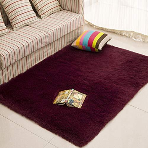 Morbuy Tapete Rectángulo Felpudos Alfombra Hogar Antideslizante Alfombras Piso Moqueta Mats Pad para Habitación (60 * 90cm, Rojo Vino)