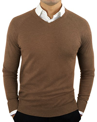 CC Perfect Slim Fit V Neck Sweaters for Men | Lightweight Breathable Mens Sweater | Soft Fitted V-Neck Pullover for Men Brown