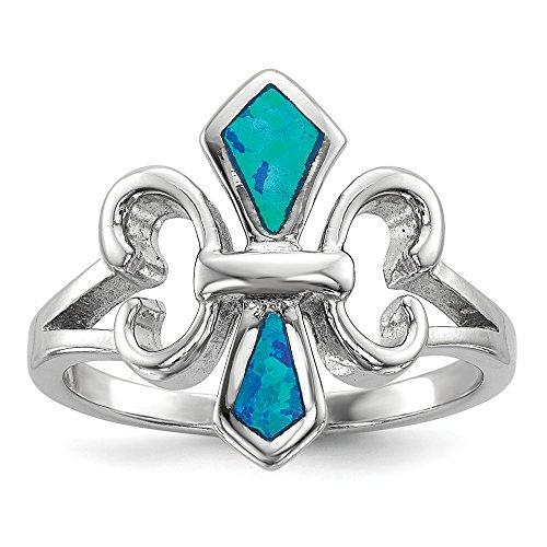Anillo de plata de ley 925 chapado en rodio con incrustaciones azules de ópalo creado flor de lis
