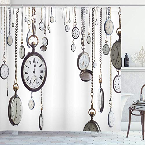 XCBN Colección de decoración Antigua, Muchos Relojes de Bolsillo Antiguos con cronógrafo de Reloj de Cadena, Cortina de Ducha de baño de Imagen Antigua A1 150x180cm