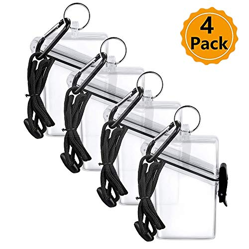 4 Pcs Waterproof ID Card Badge Holder Case Waterproof Sports Case Vertical Badge Holders with Lanyard and Keychain