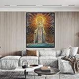 hetingyue Encantador de Serpientes Tarjeta de Arte pagano mítico psicodélico Diosa Gitana Bohemia impresión del Arte y póster Lienzo Pintura Pintura sin Marco 80X111CM