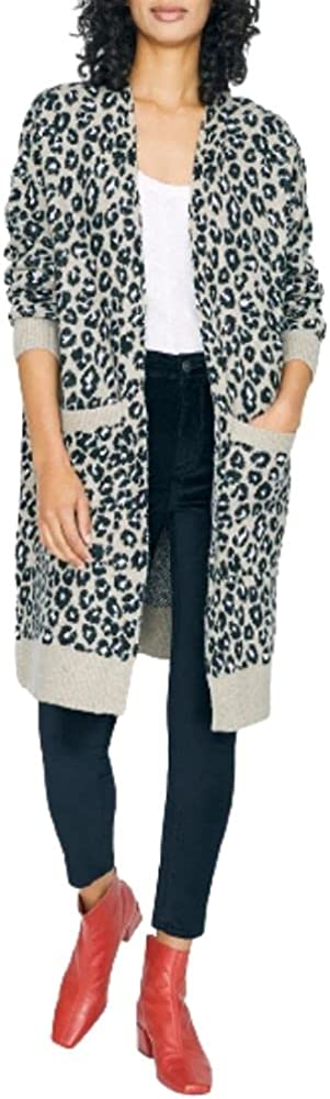 Sanctuary Womens Cats Meow Leopard Print Long Sleeves Cardigan Sweater Taupe M