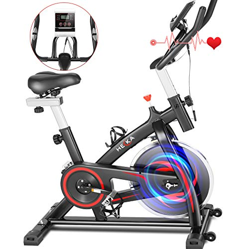 HEKA Heimtrainer Fahrrad, 13kg Schwungrad Hometrainer, Spinning Bikes Fitnessbikes mit Verstellbarer Widerstand und Sitz , LCD-Anzeige, Pulsmesser, Flasche- und Tabletshalter, Sup bis 150kg (Schwarz)