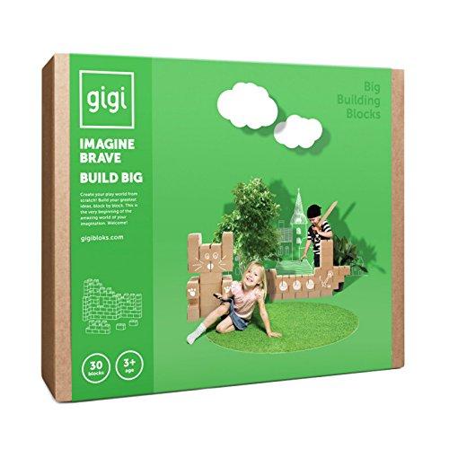 Gigi Bloks Bloques de Construcción Gigantes de Cartón para Niños | Set de Bloques Infantiles de 30 Piezas XL Apilables | Juguetes Montessori de Ladrillos de Construcción Grandes de Tamaño Real