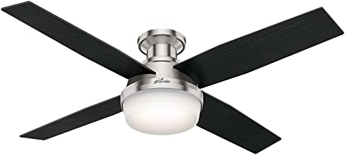 """wholesale Hunter Dempsey Indoor Low Profile Ceiling Fan with LED outlet sale Light and sale Remote Control, 52"""", Brushed Nickel sale"""