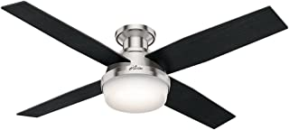 Hunter Indoor Low Profile Ceiling Fan with light and remote control - Dempsey 52 inch, Brushed Nickel, 59241