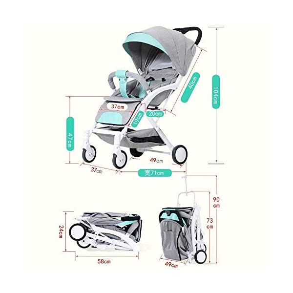 LAMTON Baby Stroller for Newborn, Stroller, Lightweight Pushchair Compact Buggy Foldable Suitable for Airplane,49x71x104cm (Color : Gray) LAMTON Adjustable handlebars for people of all heights can adjust the most comfortable push position Easy to fold, can be picked up in the trunk of the car, his parents urge him to go shopping, travel, walk, play and talk, or picnic outdoors - Quick folding system. It can be operated with one hand and folded with a lever to stand. The weight is 5.8KG and is light! 7